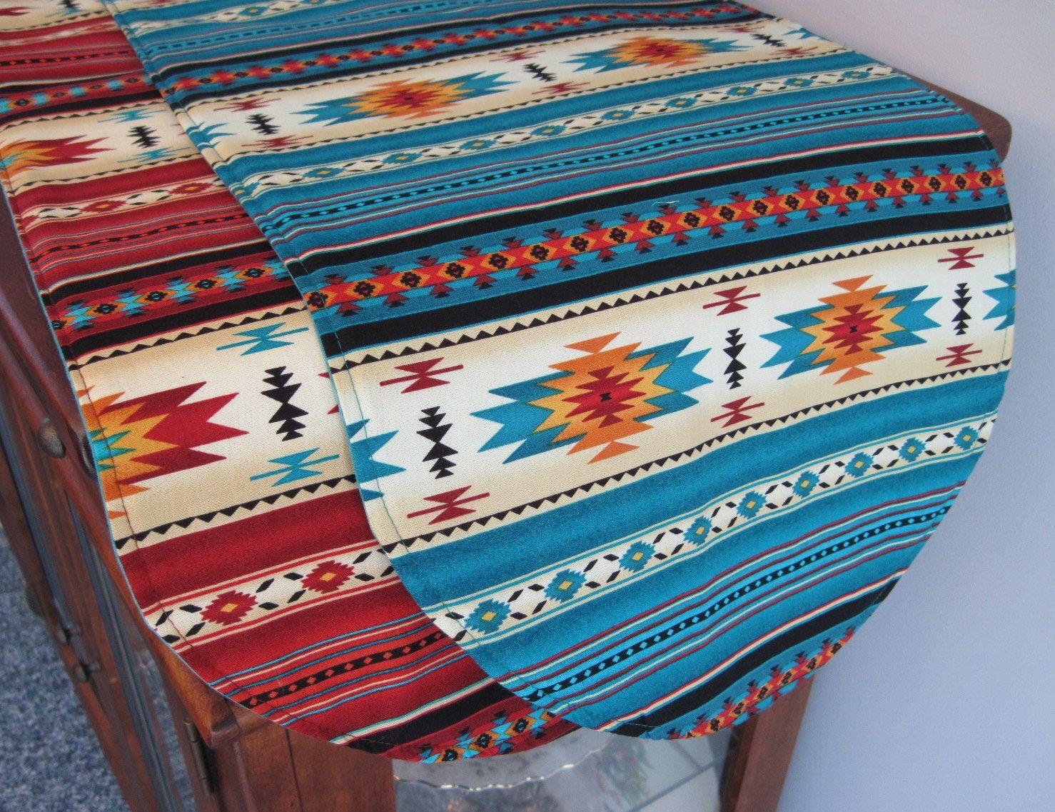Southwestern Table Runner 36 Inch Reversible Orange Red And Turquoise  Southwest Table Runner Aztec Table Runner