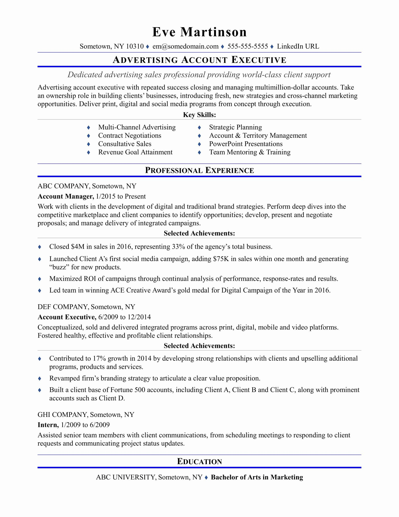 Accounting Executive Resume Samples Best Of Sample Resume For An Advertising Account Executive Executive Resume Resume Examples Account Executive