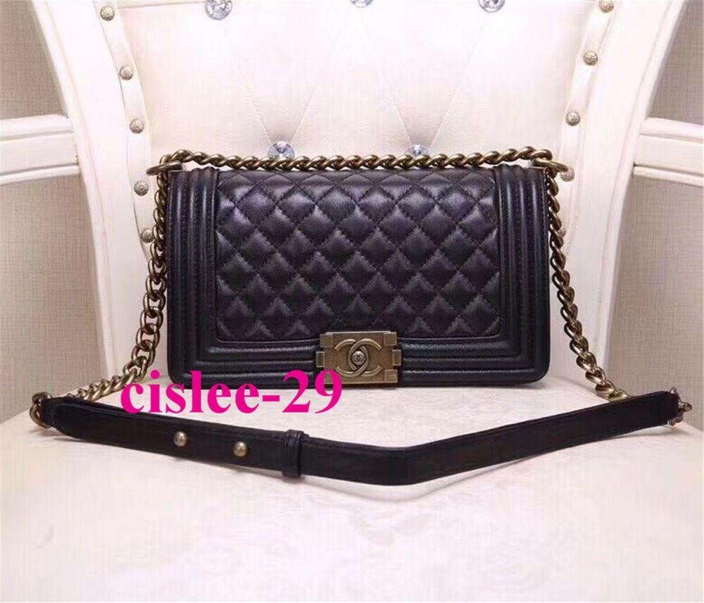 24d5d0d540f9 //Authentic//CHANEL//Le Boy//Black//LAMBSKIN//Leather//Handbag//