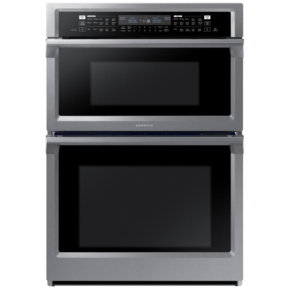Samsung Stainless Steel Built In Microwave Combination Wall Oven Top  Capacity: Cu. Self Clean / Dual Convection / Steam Cook / Wi Fi Top  Microwave: / Bottom ...