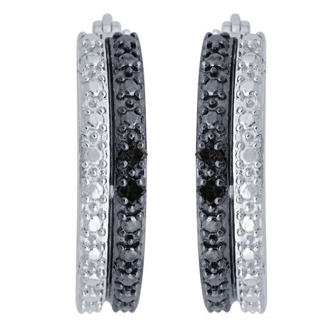 Divina Sterling Silver 1 8ct Tdw Black Diamond Hoop Earrings Not Licable Women S Size Medium White Diamonds And
