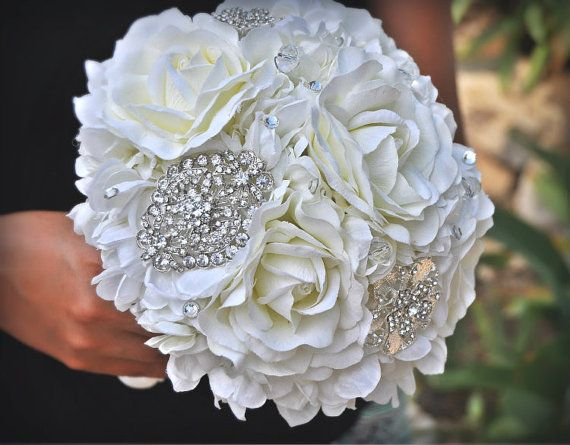 Jeweled Crystal Rose Bouquet Wedding Bouquet Bridal By