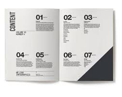 image result for table of contents on 8 page brochure typography
