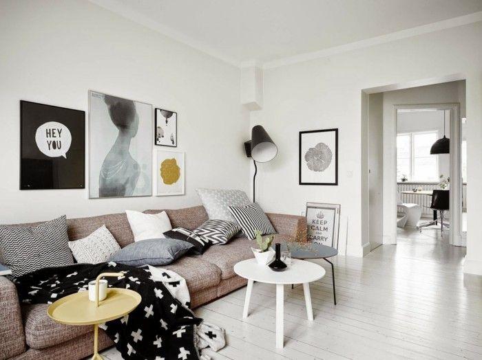 skandinavisch wohnen wohnzimmer einrichten beistelltische wanddeko ...