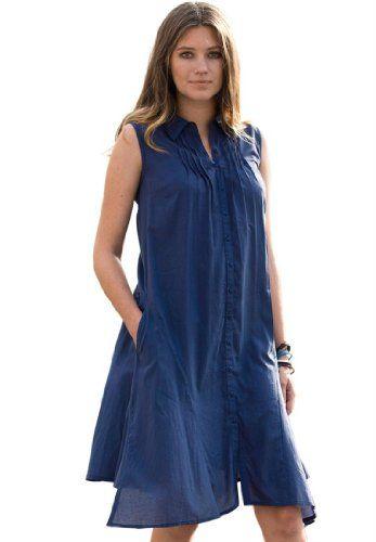 Ellos Plus Size Dress, Sleeveless, Pintucked, (Dark Navy,4X ...