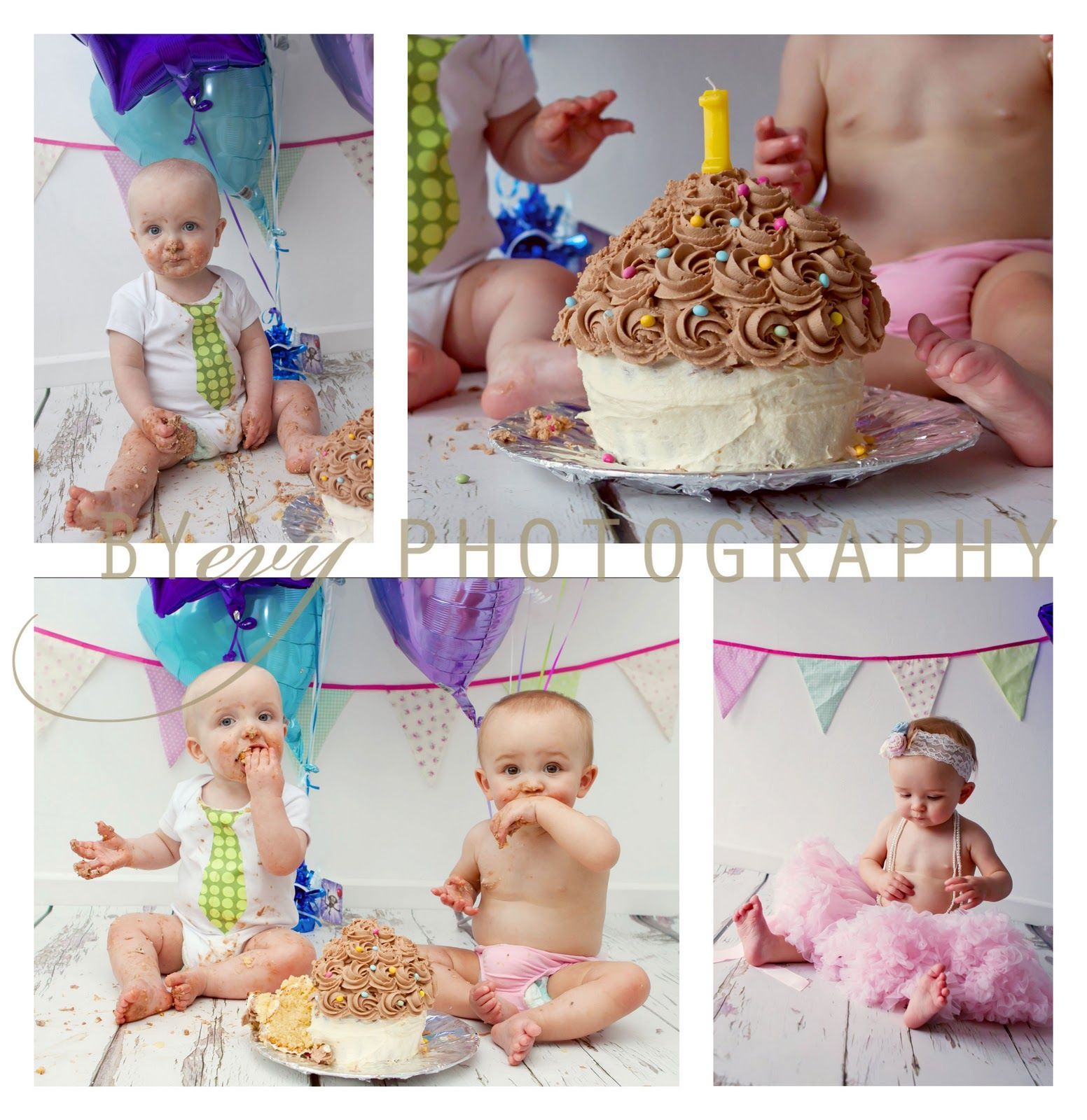 Byevy Photography Twins 1st Birthday Cake Smash Aberdeen Portrait