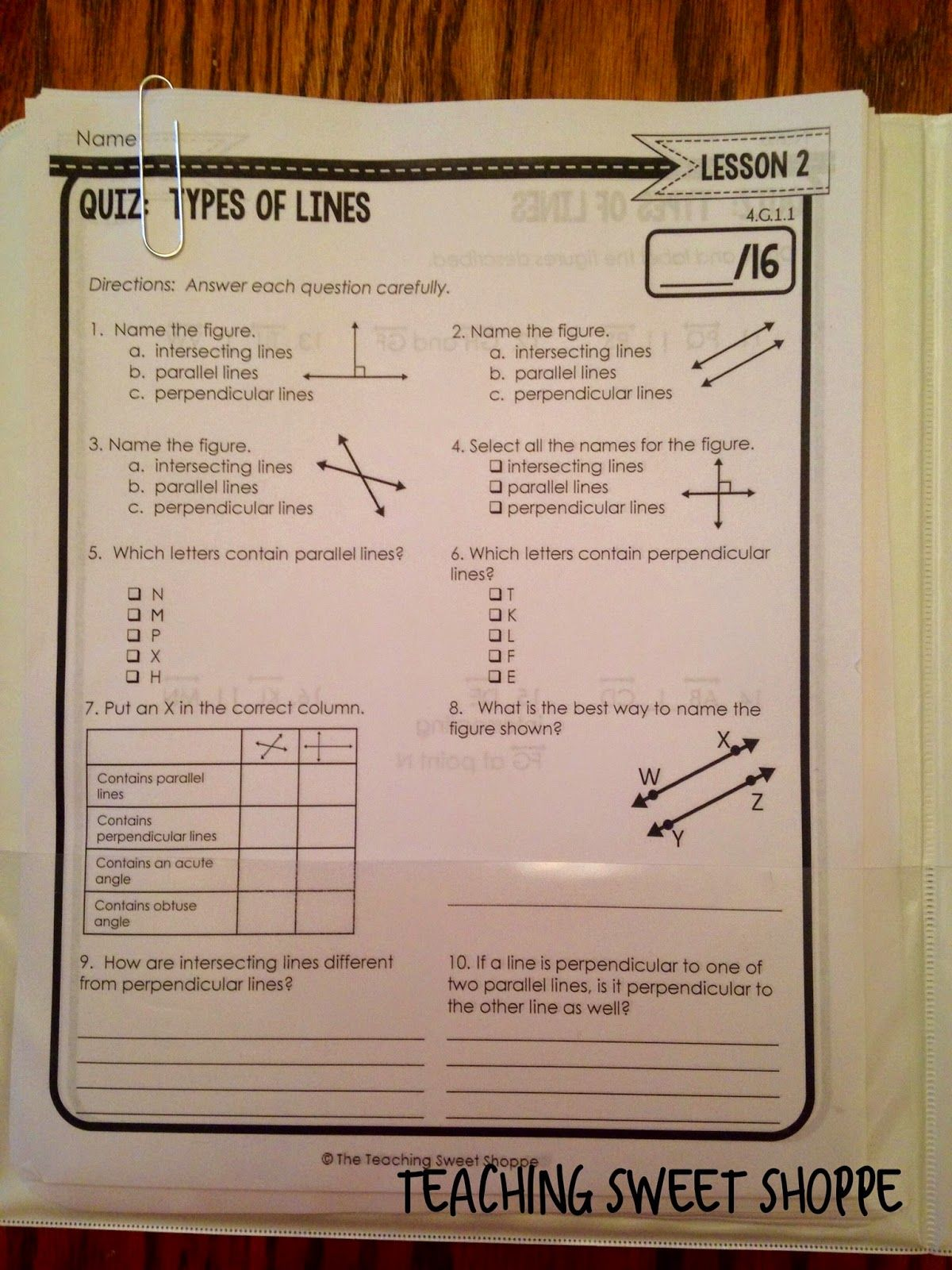 4th Grade Geometry Unit Parallel Intersecting And