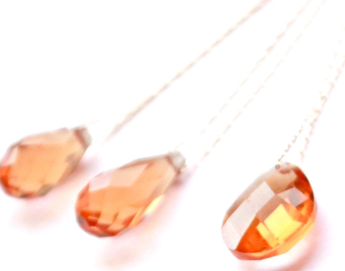 Pear Genuine Natural Garnet Earrings Pendant Set With Square Rolo Chain 14K White Gold 6 x 8 mm