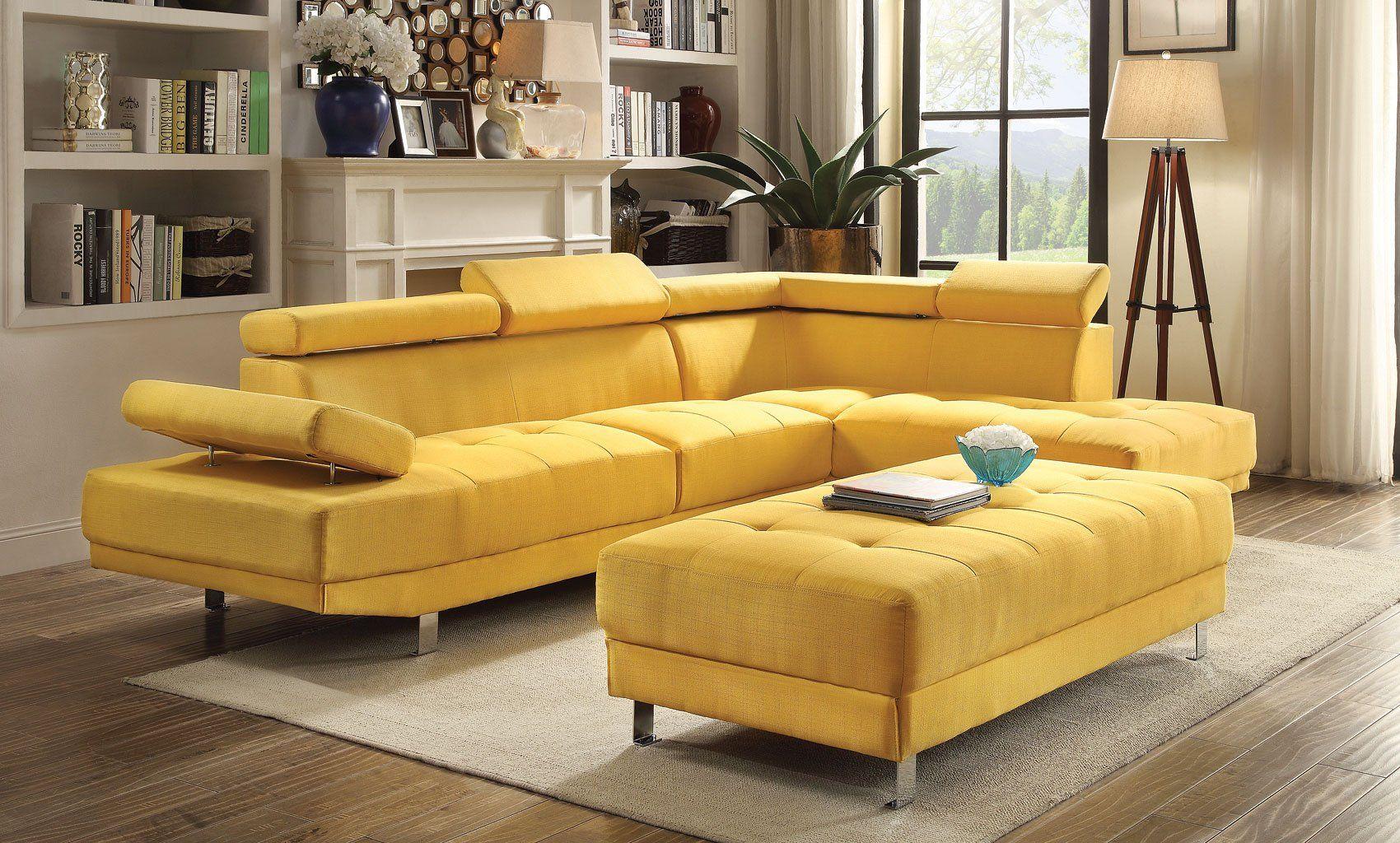 Milan Sectional Set Yellow Home Living Room Furniture Retro Home Decor