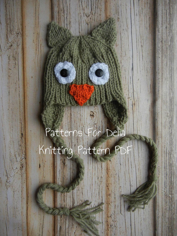 animal knit hat patterns   Owl Hat Knitting Pattern newborn baby ...