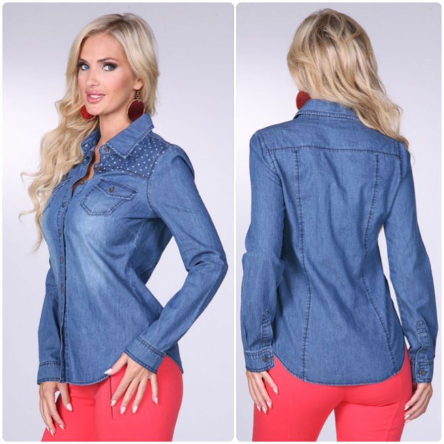 Alli Nicole Boutique - Denim & Blues Top #denim #jean #tops #longsleeve #fall #fashion #clothing #outfit