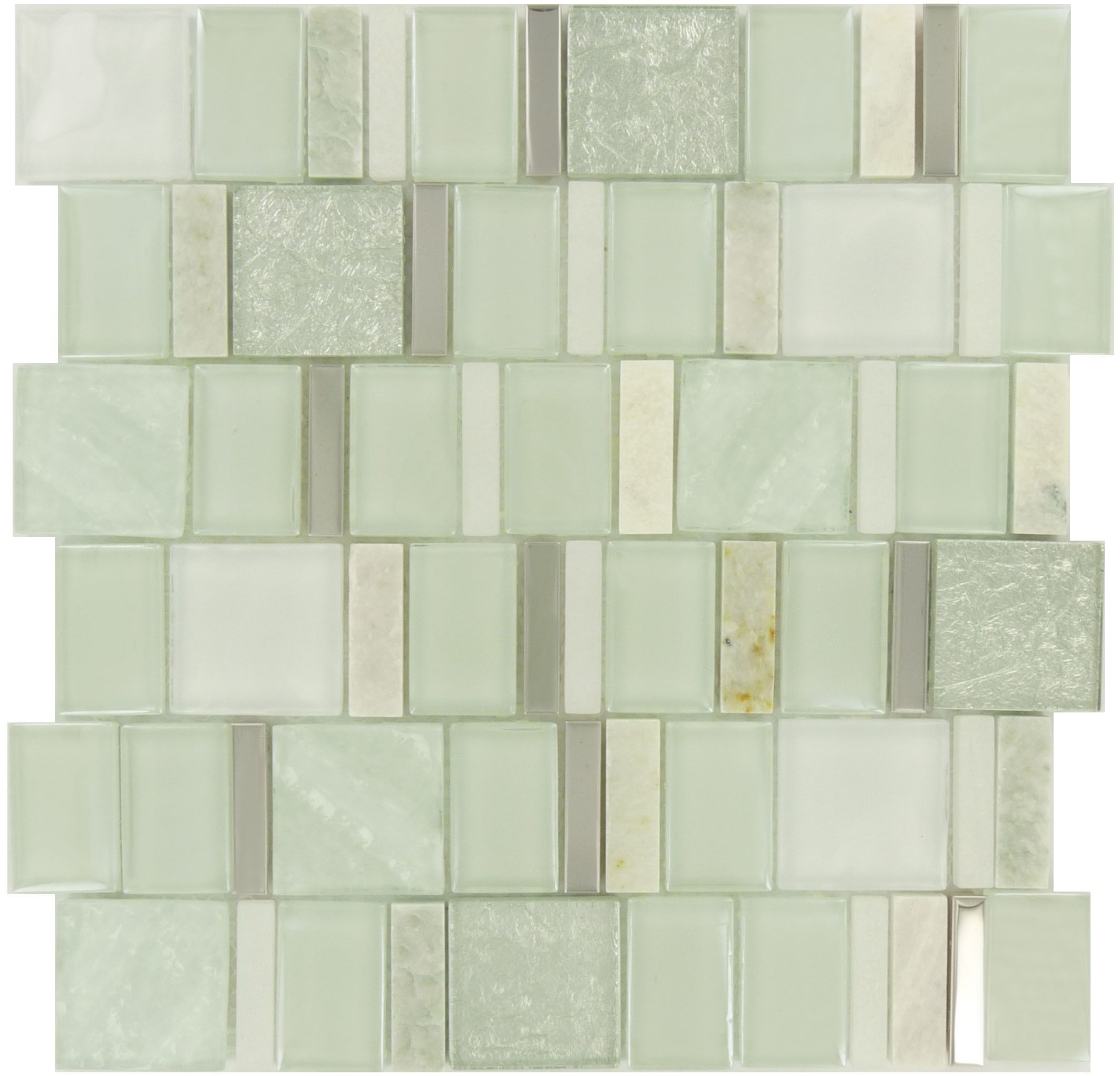 Pine Green Unique Shapes Glass Stone Metal Glossy Matte Tile Sea Glass Tile Matte Tile Glass Tile
