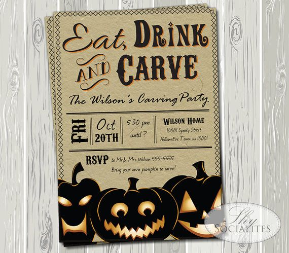 pumpkin carving party invitation kraft invitation craft vintage