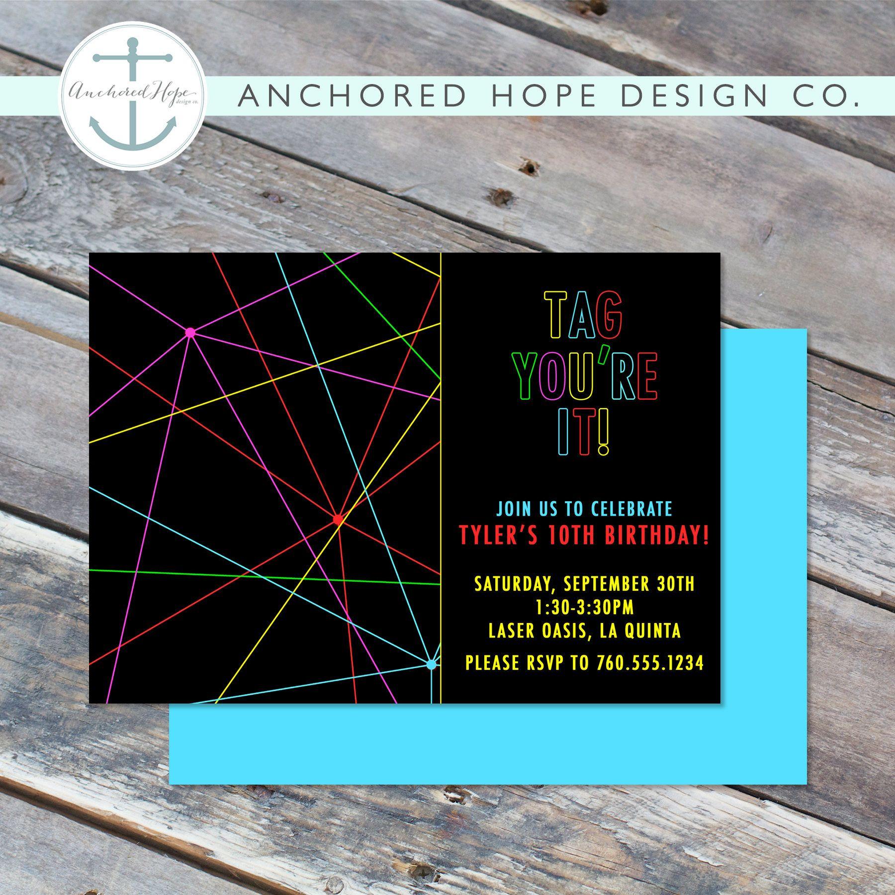 Laser Tag Birthday Invitation 4x6 or 5x7 Boy Birthday 8th 9th