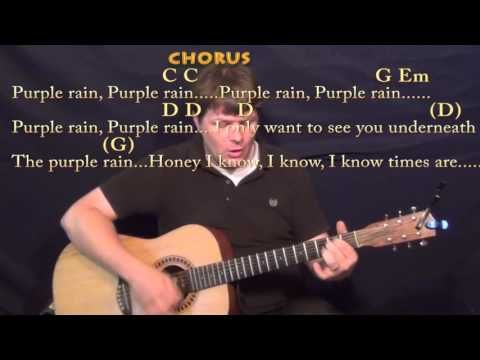 Purple Rain (Prince) Strum Guitar Cover Lesson in G with Chords ...