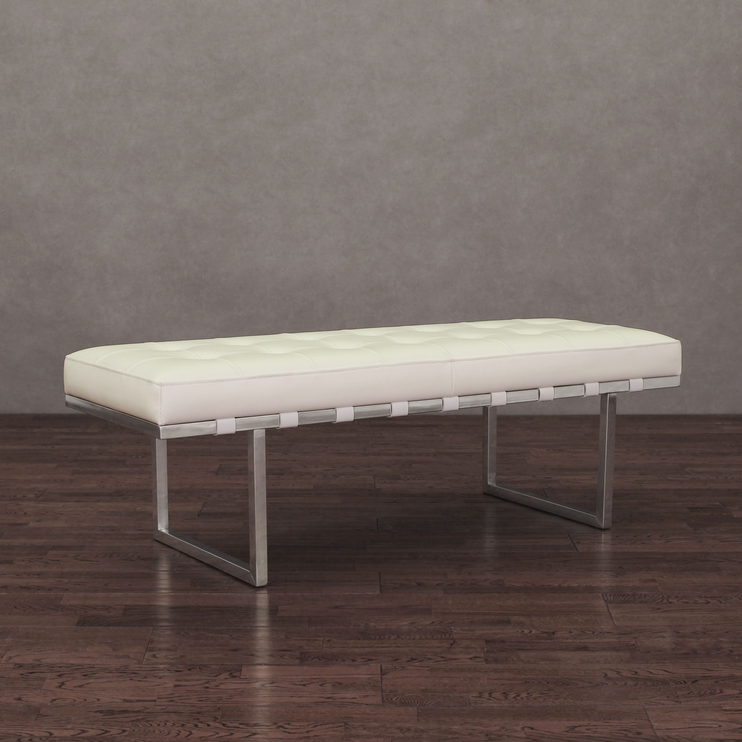 Leather Benches Modern Part - 32: Andalucía White And Stainless Steel Modern Leather Button-tufted Bench By I  Love Living