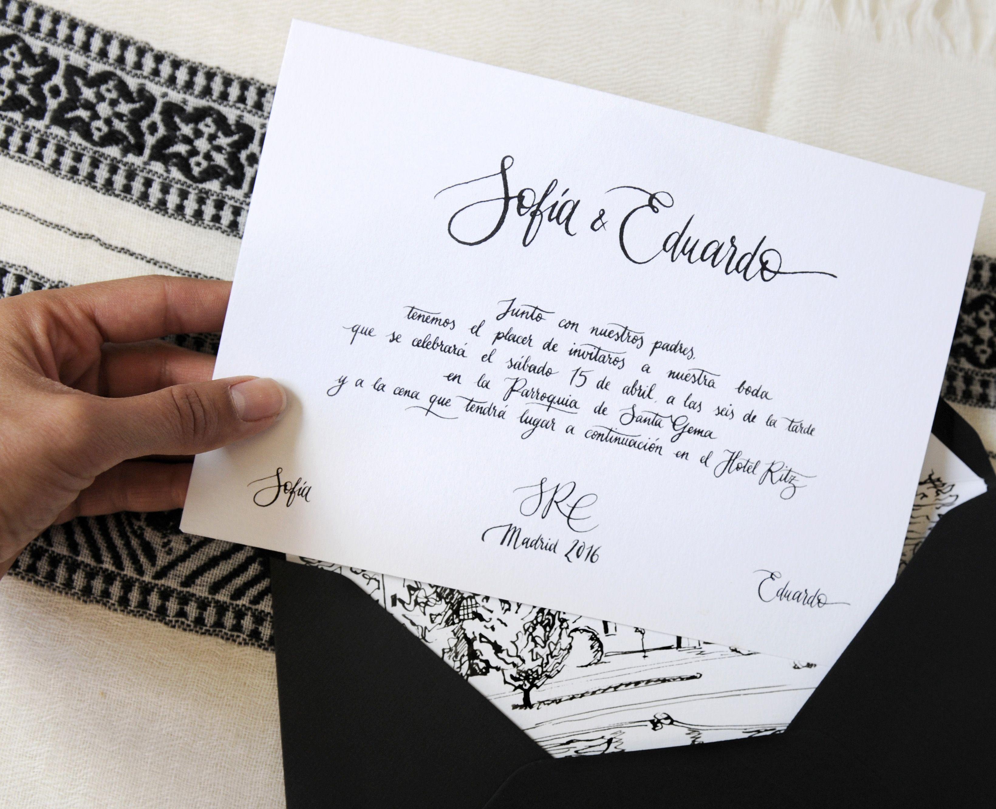 Invitacia N De Boda Clasica En Blanco Y Negro Con Caligrafa A Wedding