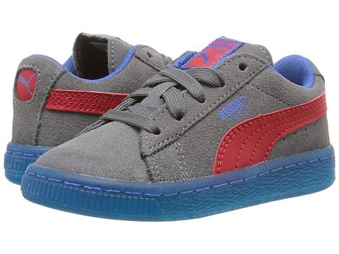 5230b640447f Puma Kids Suede LFS Iced (Toddler) Steel Gray High Risk Red Puma Royal -  Zappos.com Free Shipping BOTH Ways