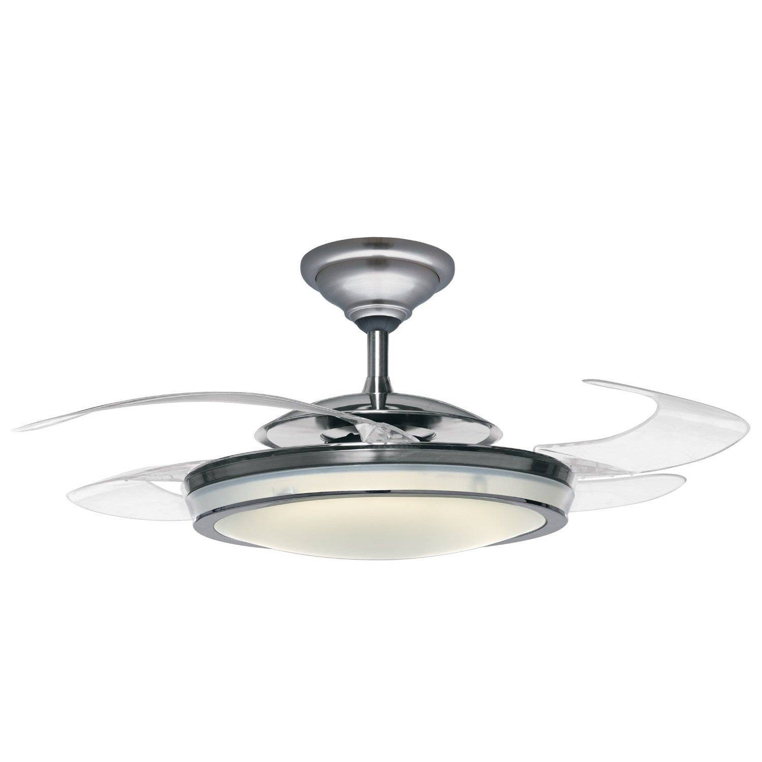 Amazon Hunter Fanaway Ceiling Fan Clear Retractable Blades Brushed Chrome