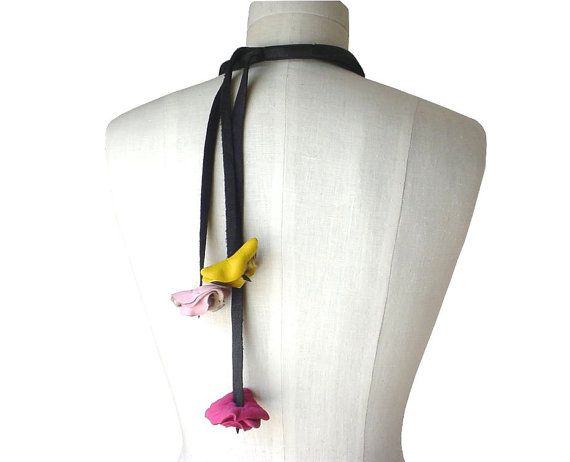 Soft Leather Flower Black Strap Necklace Multi Color by ManoBello