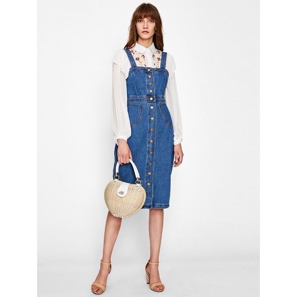 cd66ac9d97 Button Front Strap Denim Overall Dress ( 19) ❤ liked on Polyvore featuring  dresses