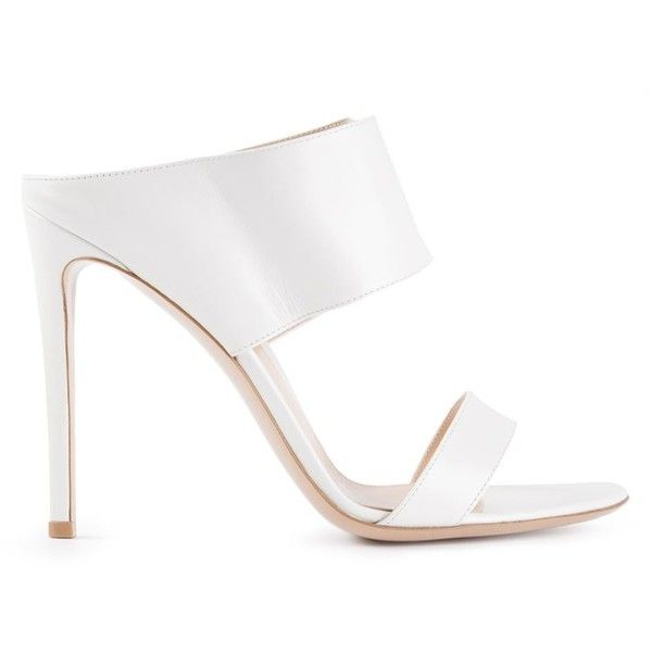 Gianvito Rossi Emina Mules ($337) ❤ liked on Polyvore featuring shoes, heels, sandals, high heels, sapatos, white, white slip on shoes, high-heel mules, leather mules and high heels stilettos