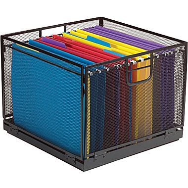 Staples® Collapsible Black Wire Mesh File Box  sc 1 st  Pinterest : hanging box files - Aboutintivar.Com