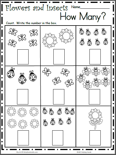 Spring Insects Free Math Worksheet For Counting To 9 Madebyteachers Kindergarten Math Worksheets Free Preschool Math Worksheets Kindergarten Math Worksheets