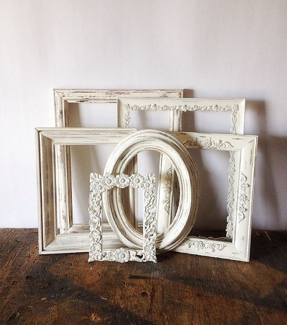 Antique White Picture Frame Set Of 6 Shabby Chic Wall Decor   Gatsby ...