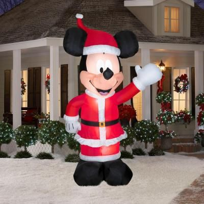 disney mickey mouse santa inflatable the airblown inflatable mickey mouse santa waves a warm holiday welcome to friends and neighbors