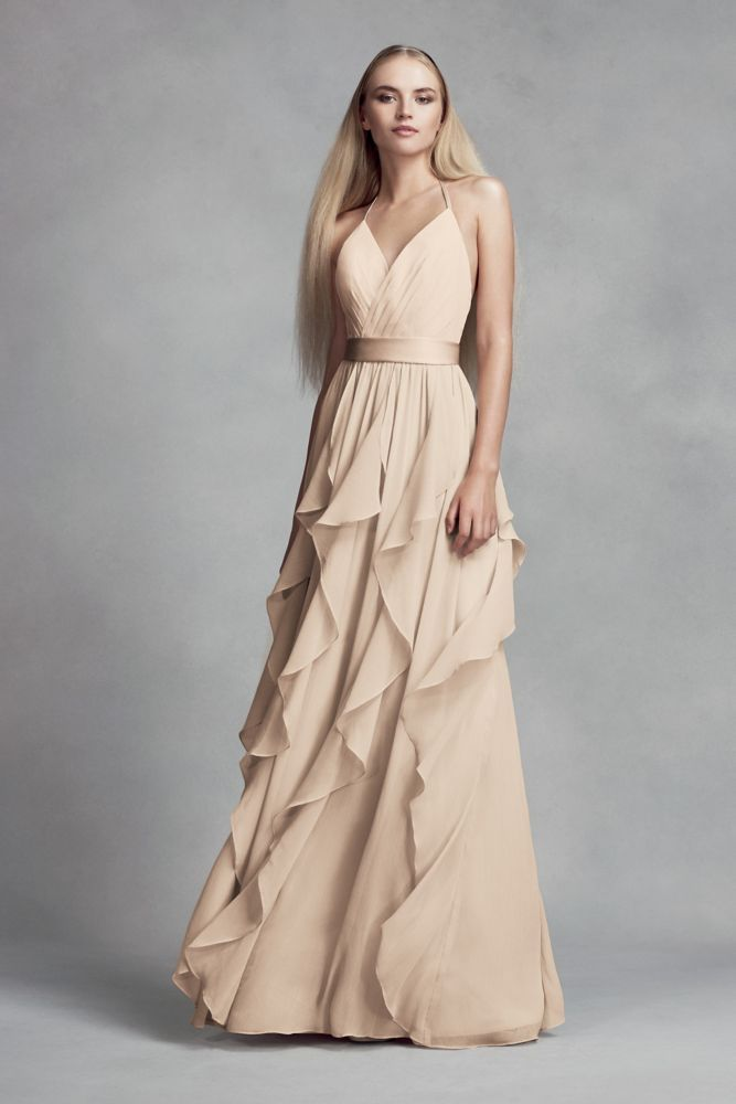f3812d2eb196 Chiffon Bridesmaid Dress with Cascading Skirt Style VW360326, Apple ...