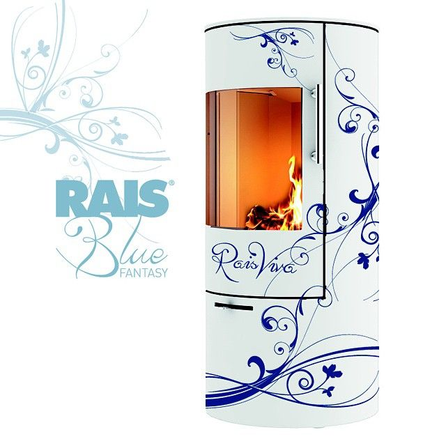 Cheap Studio Apartments Reno: RAIS Viva Blue Fantasy Houtkachel / Wood Stove.