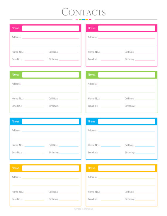 Contacts List Pdf Planner, Contact List, Checklist, List, To Do