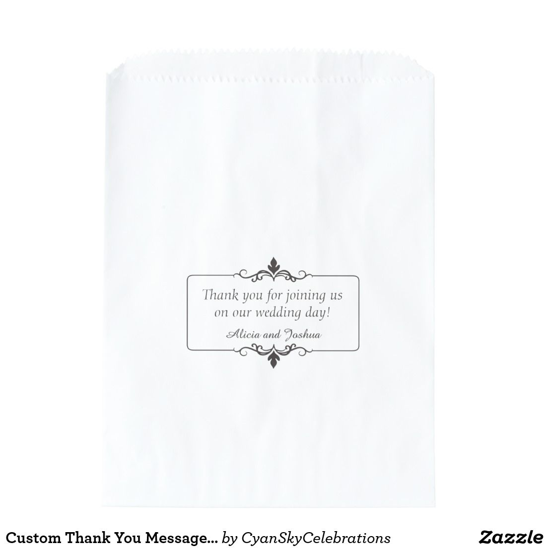 Custom Thank You Message Personalized Wedding Favor Bag ...