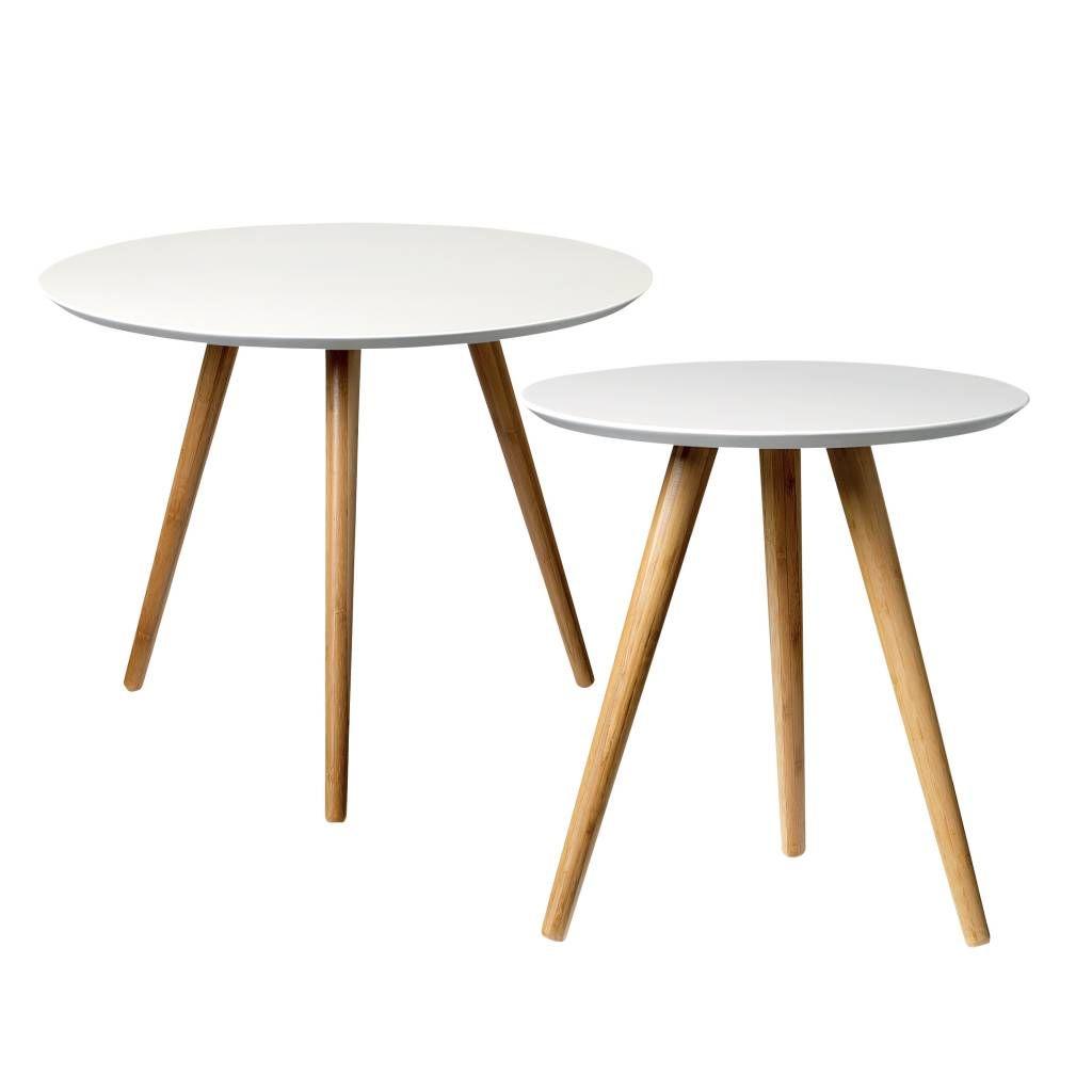 Bloomingville Coffee Table Set Of 2 White Bamboo Ronde Salontafel Witte Bijzettafels Bijzettafel [ 1024 x 1024 Pixel ]