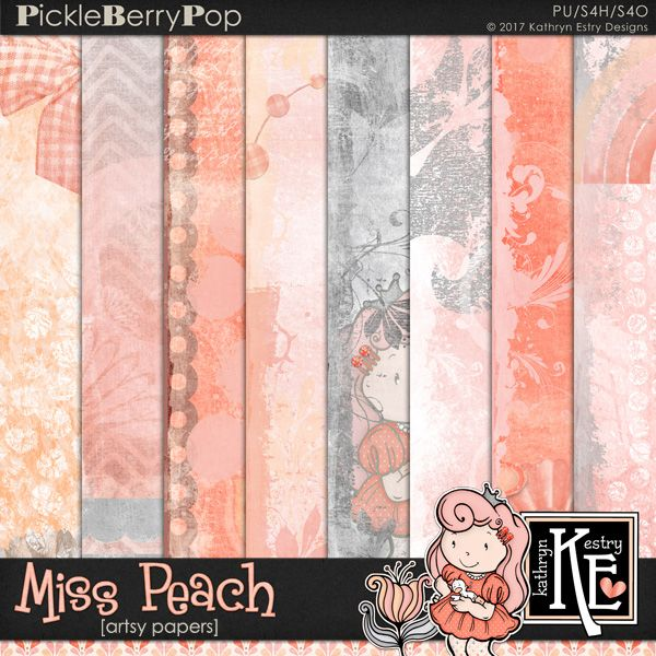 Miss Peach Artsy Papers :: Coordinates with the entire Miss Peach Digital Scrapbooking Collection by Kathryn Estry @ PickleberryPop $3.99 (A Pickle Barrel Collection - Jan 2017)