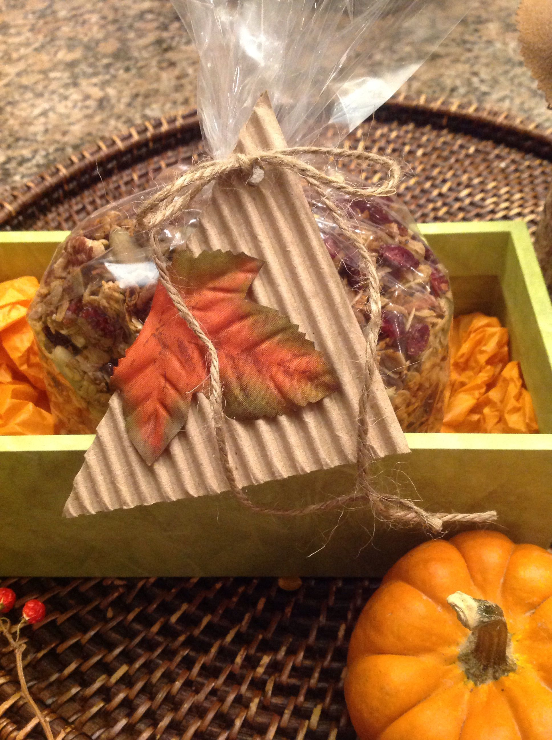 In A Cellophane Bag Michaels Tied With Natural Twine Tag Made From Recycled Corrugated Cardboard Silk Leaf Glued On
