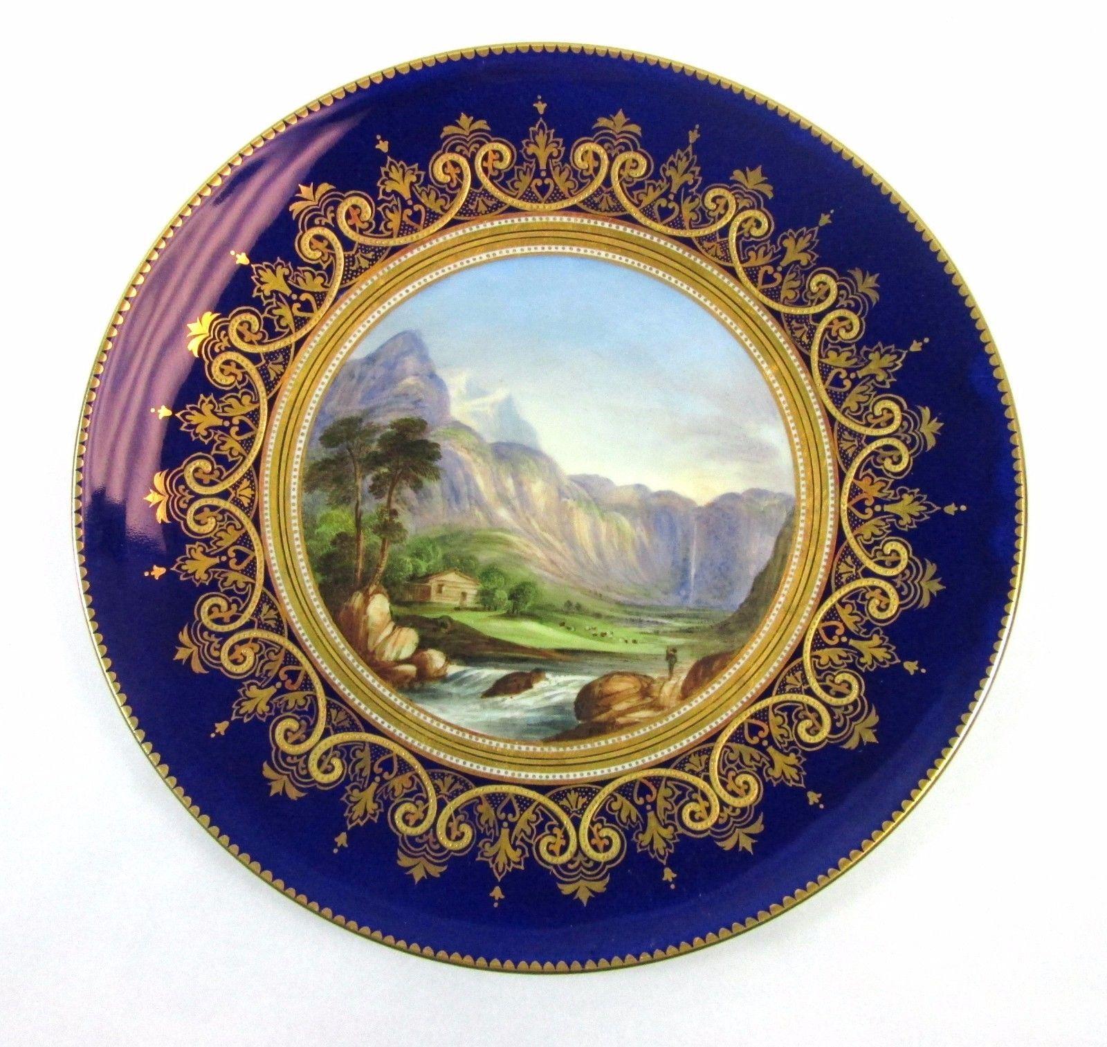Aynsley Cobalt Gilt Gold Enamel Hand Painted Landscape Scene Cabinet Plate   eBay