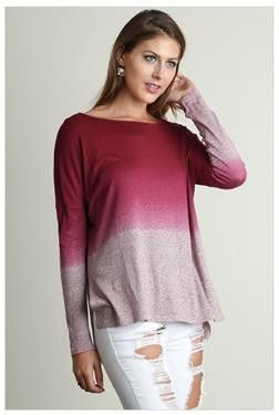What A Stunner Berry Burgundy Ombre Wideneck Long Sleeve Top    Berry red ombre long sleeve wideneck top - wideneck top - red wideneck top -  long sleeve top - ombre long sleeve top - how to wear a ombre top - fashion ombre top - trendy ombre - stylish ombre top - street style ombre top - beautiful red ombre top - wideneck red ombre top