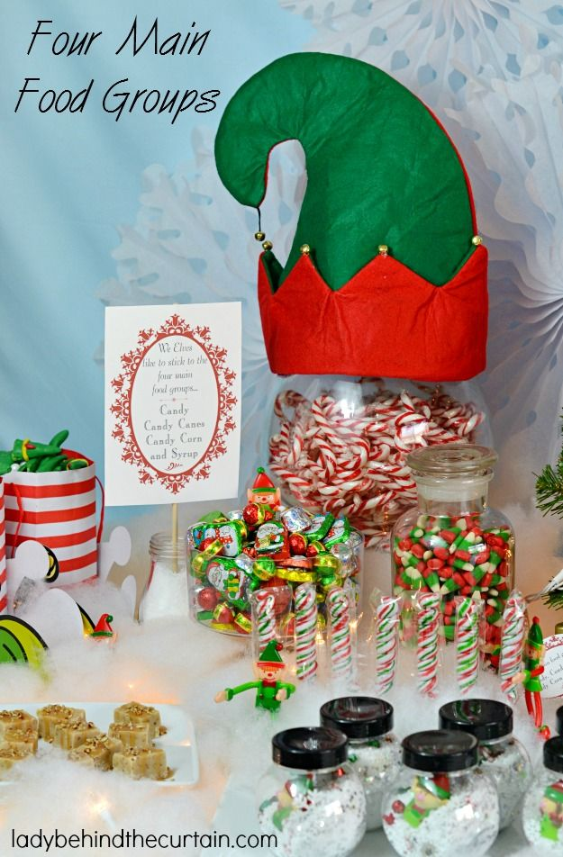 buddy the elf christmas party table lady behind the curtain - Elf Christmas Party Decorations