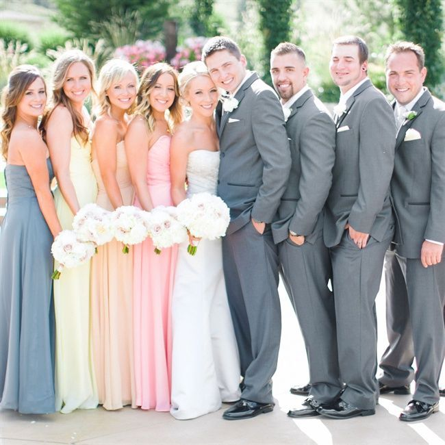 Multi Color Bridesmaid And Gray Groomsmen Suits ℬїт ℌαℓї їøυ