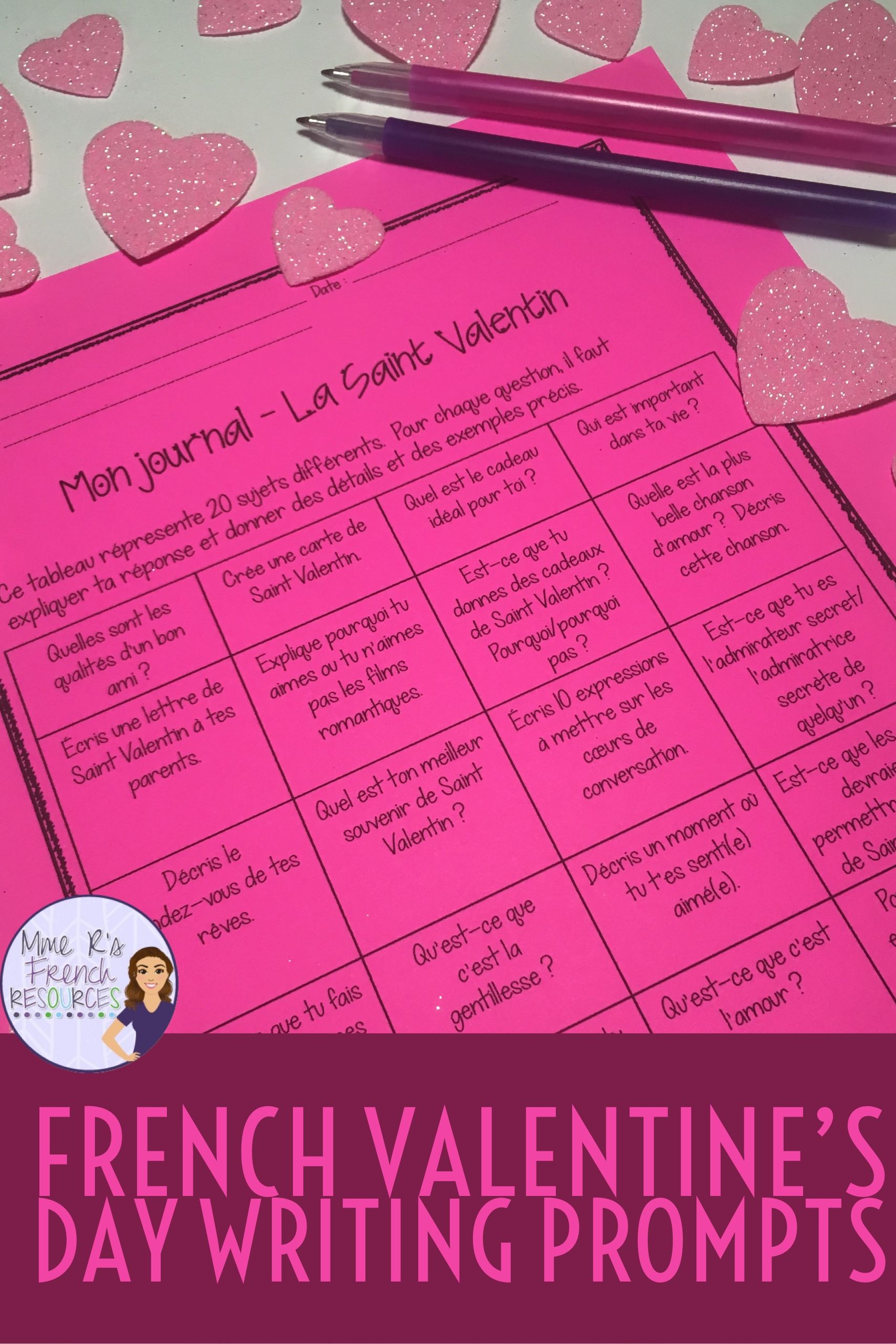 french valentine's day writing prompts  sujets d'écriture
