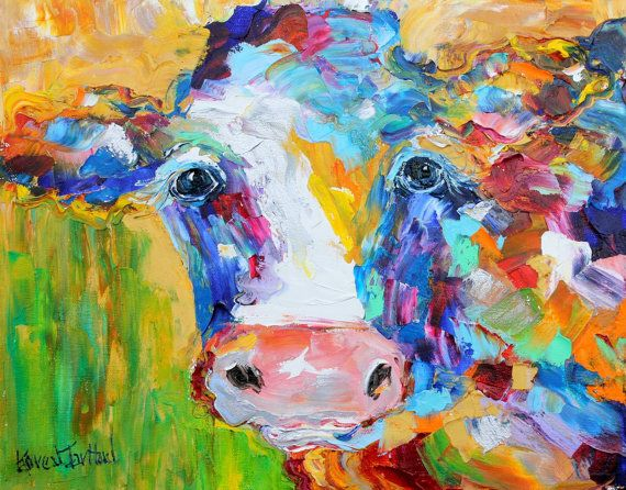 Original Oil Painting Abstract Cow Farm Animal By Karensfineart 126 00 Cow Art Print Cow Art Cow Canvas