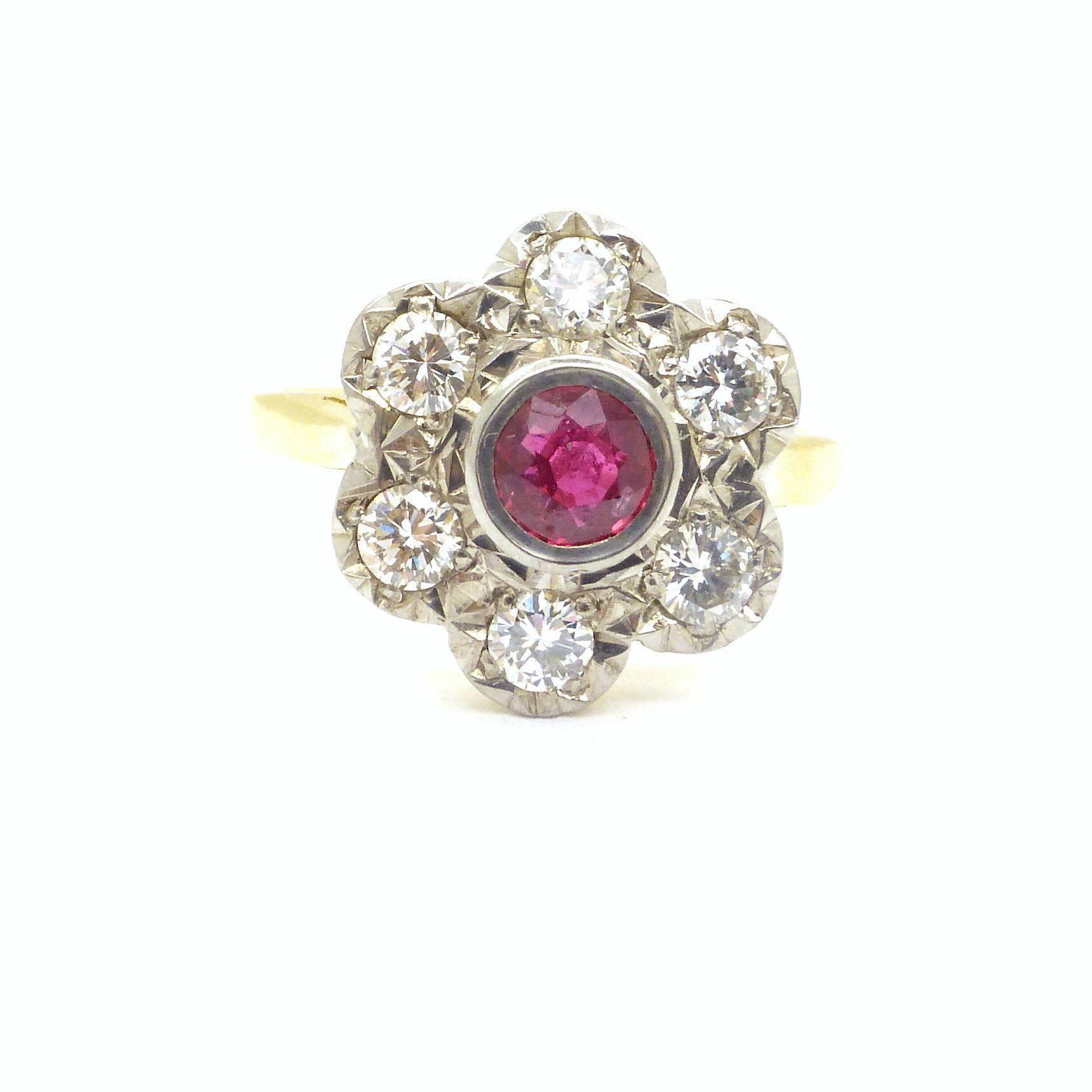 Pretty Vintage Ruby Diamond Cluster engagement ringEnglish 18ct