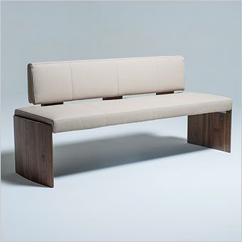 Dining Bench With Backrest In Upholstered In Beige Or White Eco Leather  With Walnut Legs