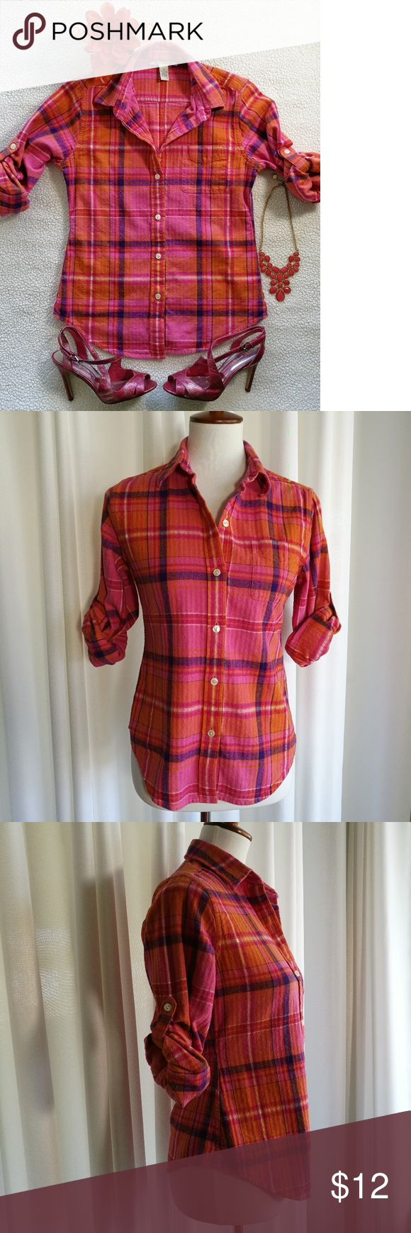 Orange flannel jacket  Lucky Brand Cotton Flannel Shirt Size Small  Flannel shirts Lucky