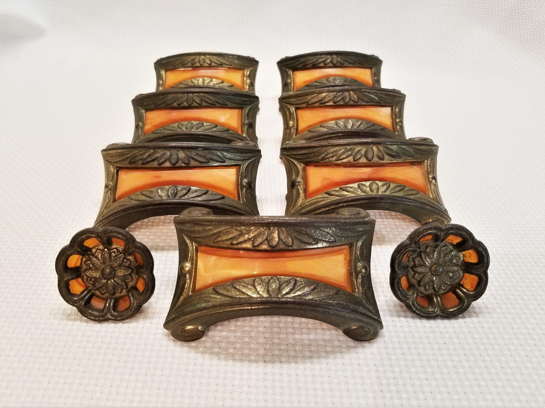 Orange bakelite Art Deco drawer pull sunburst bakelite on brassed copper drawer handles
