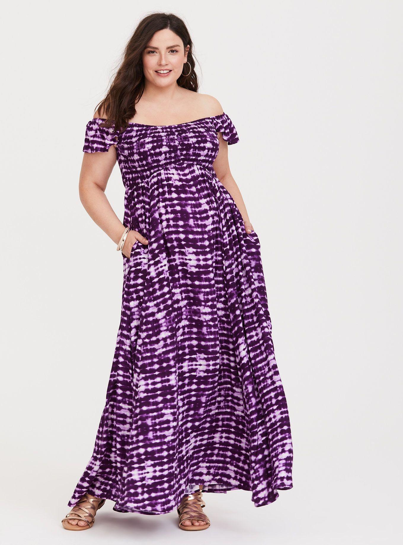 e22b79a39d Purple Tie-Dye Challis Maxi Dress