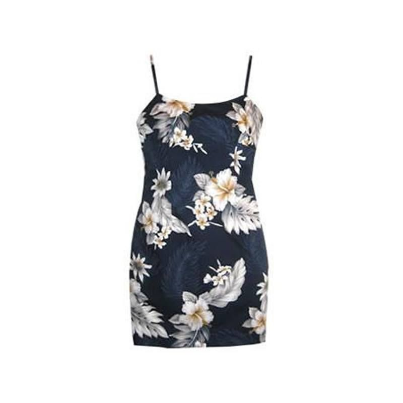 Blueberry Navy Short Hawaiian Skinny Strap Floral Dress   #hawaiiandresses #hawaiiandress #sundress #sexyhawaiiandresses #floraldress #maxidress #hawaiianweddingdress