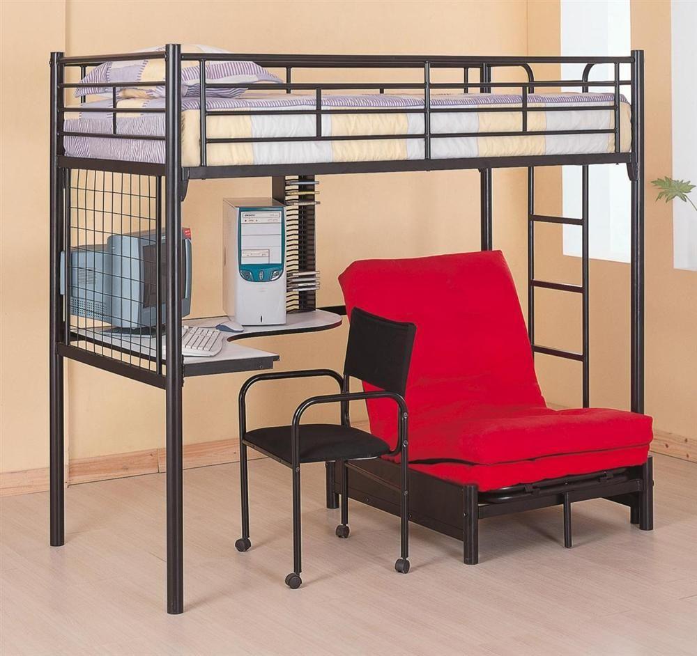 Loft bed with desk teenager  Black Metal Teen Loft Bed Set w Desk Chair Futon  bedrooms